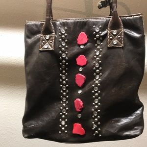 Leather tote with rhinestones & coral